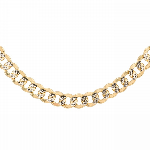 Oromagnifico Curb Link Chain Two-tone Diamond-cut. Sterling Silver and 14K Yellow Gold.