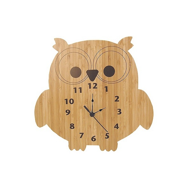 Owl Wall Clock Bamboo Finish - Trend Lab